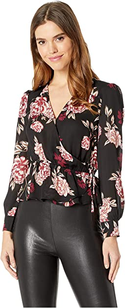 Colista Printed Faux Wrap Top