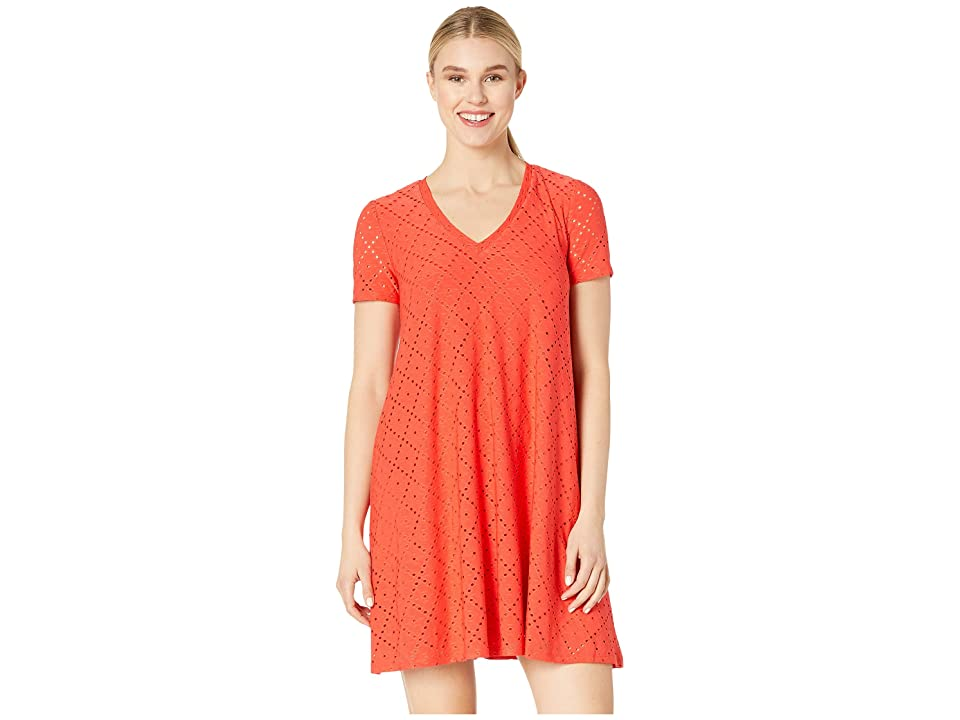 London Times Embroidered Jersey V-Neck A-Line Dress (Fiesta Red) Women
