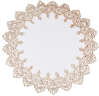 Round Placemat Doily or Table Topper in Gold European Lace and Antique Jacquard Fabric, Size 23 Inches Round