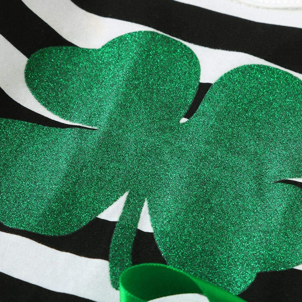 Baby Girl St.Patricks Day Costume Set 2Pcs Toddler Kids Striped Tulle Princess Dresses Headband Clothes Outfits for Infants Long Sleeve Irish Patchwork Suspender Skirt Dress 0-4 Years