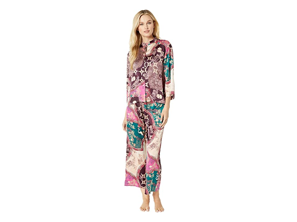 N by Natori Floral Medallion PJ Set (Plum/Green) Women