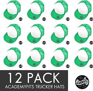 AcademyFits Quality 5 Panel High Crown Trucker Foam Mesh Hat Snapback Flat Visor Men Women Wholesale Lot 12 Pack #2070