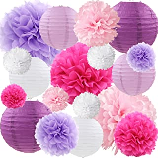 Purple and Pink Tissue Paper Pom Poms Flowers Paper Lanterns Decorative Vintage Floral Wedding Bridal Shower Baby Girl Baby Shower Decorations Supplies, 18ct