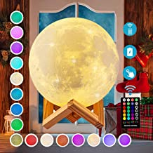 Moon Lamp 3d Printing 16 Colors Moon Light with Stand & Remote &Touch Control and USB Rechargeable (Diameter 4.72 inch), B...