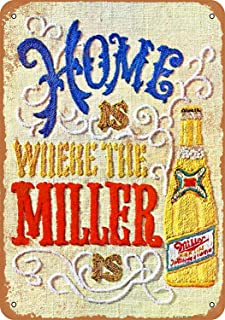1969 Miller Beer Needlepoint Vintage Look Metal Sign Funny Aluminum Tin Sign Post Home Decor Wall Art Gift 8 x 12
