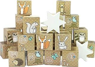 Zestaw pudełek DIY Kalendarz Adwentowy do wypełnienia - Zwierzęta leśne - 24 kolorowe pudełka do samodzielnego postawienia...