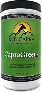 MT. CAPRA SINCE 1928 CapraGreens | Superfood Concentrate with Chlorella, Organic Spirulina, Goat Milk Minerals and Anti-Inflammatory Herbs, Veggies, and Flax Seed - 600 Grams