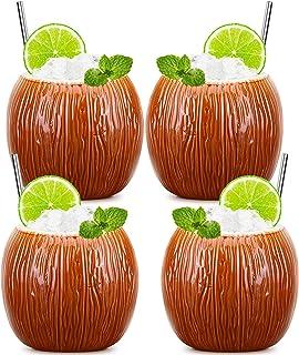 Tiki Mugs - Set of 4 Coconut Cup TiKi Glasses Hawaiian Creative Designs Cocktail TiKi Cup Glasses (4PCS)
