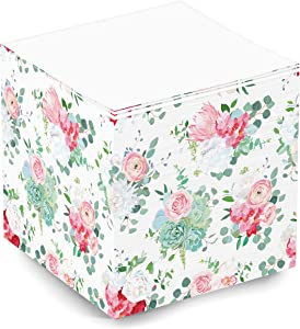 Cute and Fun Blank Floral Rose Flower Pattern Sticky Note Memo Cube for Teen Girls and Women. 500 Sheet 3.5x3.5x3.5 Inch Sticky Cube for School Supplies and Office Supplies