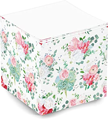 Cute and Fun Blank Floral Rose Flower Pattern Sticky Note Memo Cube for Teen Girls and Women. 500 Sheet 3.5x3.5x3.5 Inch Stic