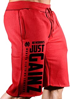 Monsta Clothing Co. Mens Workout (No Worries-Just Gainz) Gym Sweat Shorts (A:BK)
