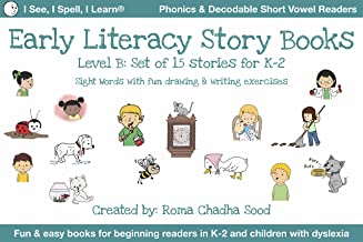 K-2 Summer Early Literacy Storybooks - Level B - Fun & easy to read for all beginning readers & children with dyslexia: 15...