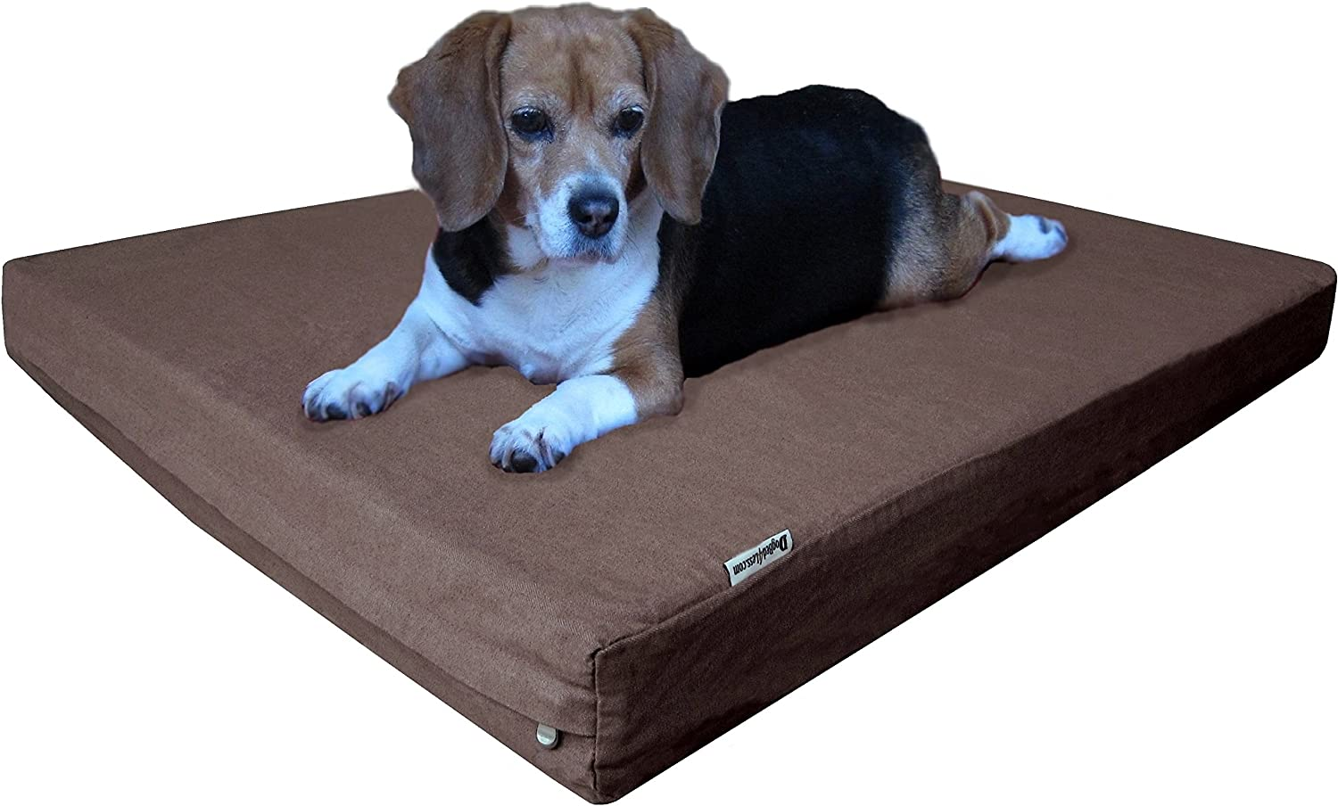 Dogbed4less Heavy Duty Orthopedic Small Medium Memory Foam Pet Bed with Waterproof Denim Cover + Free Extra Bonus case 35X20X4