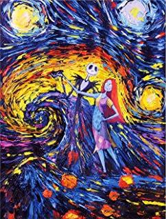 Artwcm Van Gogh Starry Night,Jack Sally Jack and Sally,Nightmare Before Christmas Oil Paintings Modern Canvas Prints Artwork Printed on Canvas Wall Art for Home Office Decorations-746 (Framed,12x16inch)