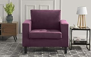 Mid Century Modern Tufted Velvet Armchair, Living Room Chair (Purple)