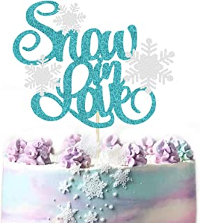 KAPOKKU Glitter Snow In Love with Snowflake cake Toppers for Wedding Frozen Themed Party Birthday Party engagement Party Christmas Party Winter Wonderland Baby Shower supplies