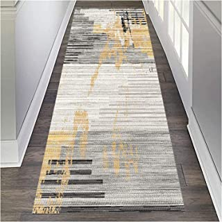 HAIPENG Runner Rug for Hallway Washable, Modern Entry Rugs with Non Slip Backing, Low Pile Entrance Mat for Living Dining ...