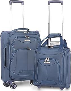 Aerolite 21 Inch Carry On Lightweight 4 Wheel Spinner Suitcase & Under Seat Bag Set