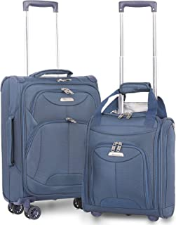 "21"" Inch Carry On Lightweight 4 Wheel Spinner Suitcase & 16"" Under Seat Bag Set (Navy)"