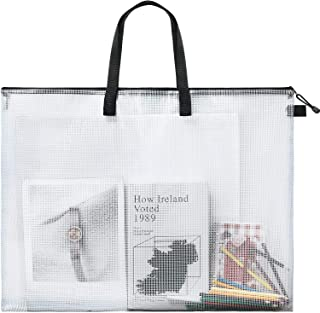 Art Portfolio Bag Poster Storage Bag Board Holder with Handle and Zipper 19 x 25 Inch Organizer Transparent Bag for Large ...