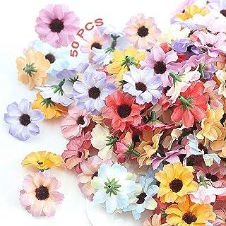 Artificielle Gerbera Marguerite Fleurs 50PCS Fleurs Artificielles en Soie en Vrac Fleurs Artificielles Têtes Marguerite Ar...
