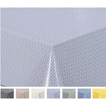 Home Direct Nappe Toile cir/ée PVC Ronde 160 cm Petit Pois Bleu Gris