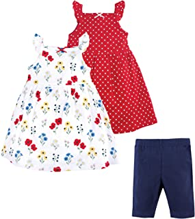 Hudson Baby Baby and Toddler Girl Cotton Dresses and Leggings, Wildflower, 9-12 Months