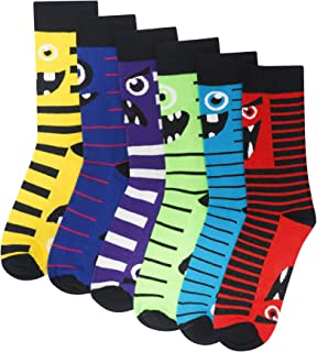 Calcetines de algodón para hombre o niño, 6 unidades, diseño de monstruos, calcetines negros con colores brillantes