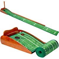 Deals on REMOSSY Wood 8ft Golf Putting Mat w/Auto Ball Return System
