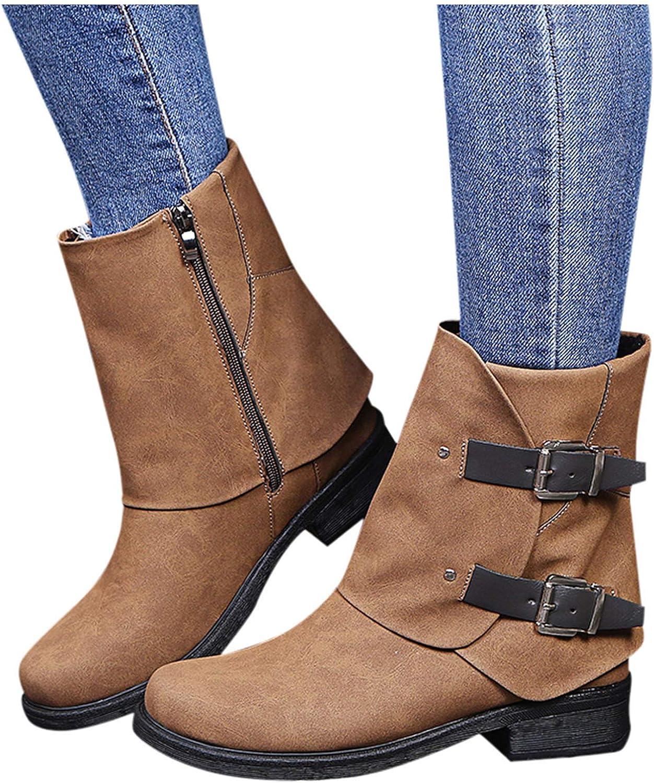 Boots with Heel Vintage Western Buckle Low Heels Mid-Calf Boots