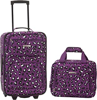Rockland Fashion Softside Upright Luggage Set, Purple Leopard, 2-Piece (14/19)