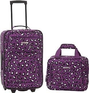 Fashion Softside Upright Luggage Set, Purple Leopard
