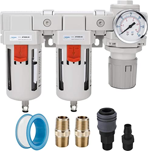 """NANPU DFR-03 3/8"""" NPT Air Drying System - Double Air Filters, Air Pressure Regulator Combo - Semi-Auto Drain, Poly Bowl"""