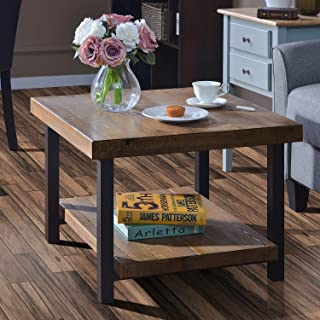 Coffee Table Easy Assembly Rustic Natural End Table with Storage Shelf for Living Room (26