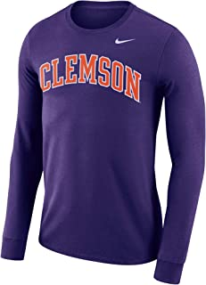 Nike Men's Purple Clemson Tigers Performance Cotton School Dri-Fit Wordmark Long Sleeve T-Shirt
