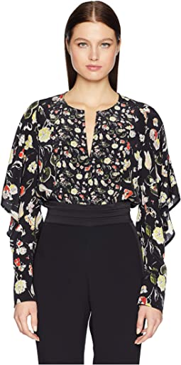 Painterly Floral Large Print Crew Short Ruffle Sleeve Top