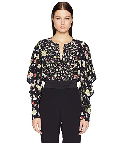 GREY Jason Wu Painterly Floral Large Print Crew Short Ruffle Sleeve Top (Black Multi) Women