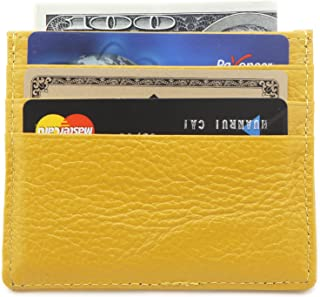 DEEZOMO Genuine Leather RFID Blocking Card Case Wallet Slim Super Thin 6 Card Slots Compact Wallet