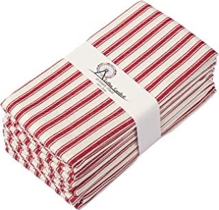 Cotton Carnival Kitchen Towels, Ring Spun Cotton Tea Towels, Super Absorbent Dish Towels, French Stripes of Red and White,...