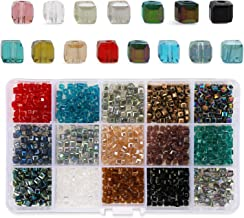 Phogary 1200pcs Cube Glass Beads, Mixed Colors Crystal Square Beads Assorted Kit Multi-Colors Lustered Loose Spacer Beads, 4mm Rondelle Shape for Jewelry Making, DIY Crafting (15 Colors)