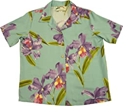 product image for Paradise Found Women's Orchid Corsage Palm Aloha Shirt, Aqua, S