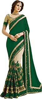 green lengha saree