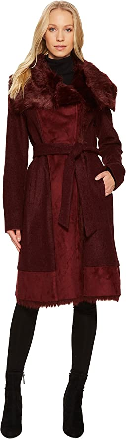 Wool Coat with Faux Shearling and Faux Fur Detail N1231