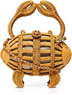Aranaz Women's Large Crab Wicker Clutch Bag Brown