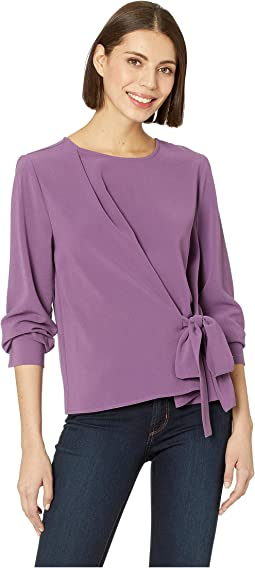 Long Sleeve Side Tie French Crepe Blouse