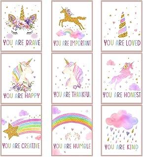 Zonon 9 Pieces Unicorn Rainbow Wall Art Prints Unicorn Rainbow Motivational Posters Unframed Watercolor Unicorn Rainbow Po...