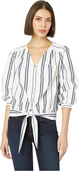Long Sleeve Valiant Stripe Button Down Tie Front Blouse