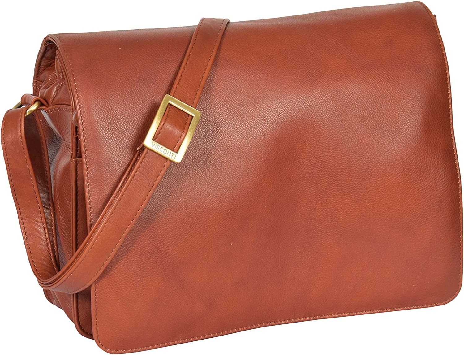 Womens Real Leather Organiser Shoulder Flap Over Cross Body Bag Puerto Rico Brown