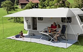 Berger Sonnenvordach Vario 600x240cm Vordach Sonnenschutz Wohnwagen Sonnendach Dach Sonnensegel Grau Sport Freizeit