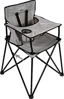 ciao! baby Portable High Chair for Travel, Fold Up High Chair with Tray, Grey Check